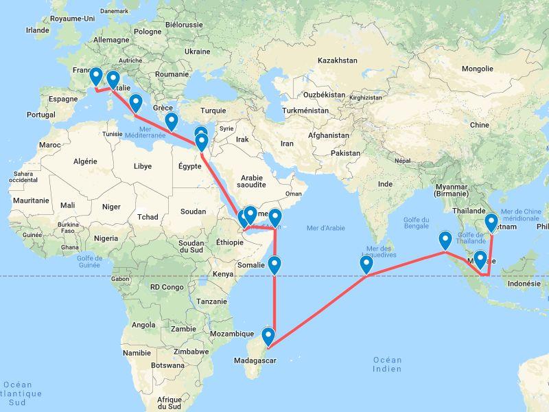 Jacques de Bellabre nous résume sa traversée vers l'Indochine en 1946.